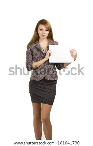 Business woman holding a banner isolated on white background