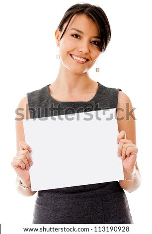 Business woman holding a banner - isolated over a white background