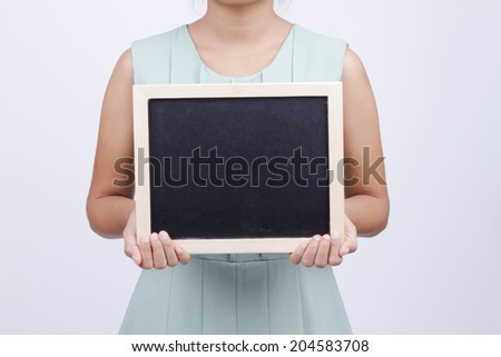 Business woman holding a banner - isolated white background