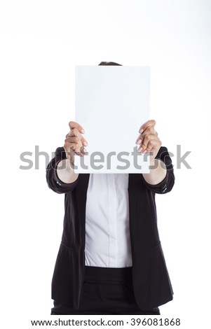 business woman holding a blank banner isolated on white