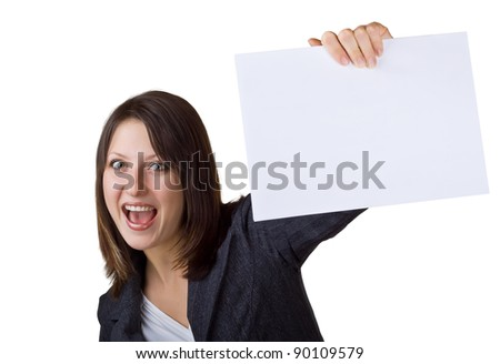 Business woman holding a blank sign, isolated on white background