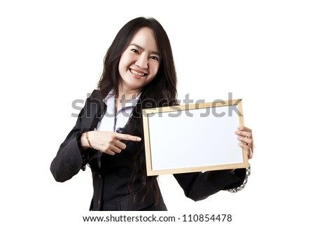 Business woman holding a blank white board