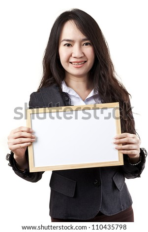 Business woman holding a blank white board on white background