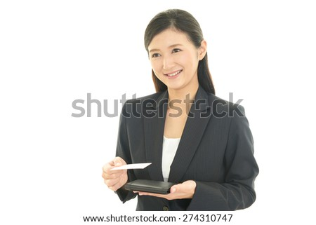 Business woman holding a business card