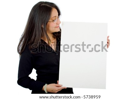 business woman holding a cardboard isolated over a white background - stock photo