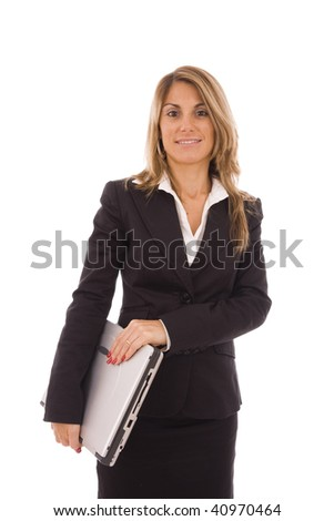 Business woman holding a computer isolated on white