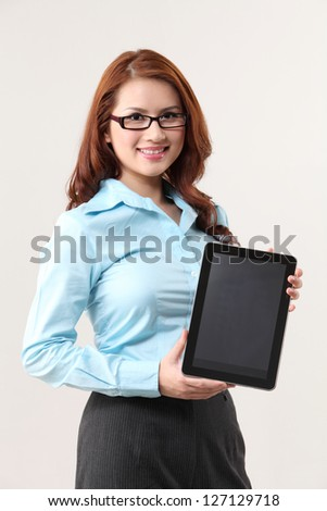 business woman holding a digital  tablet - stock photo