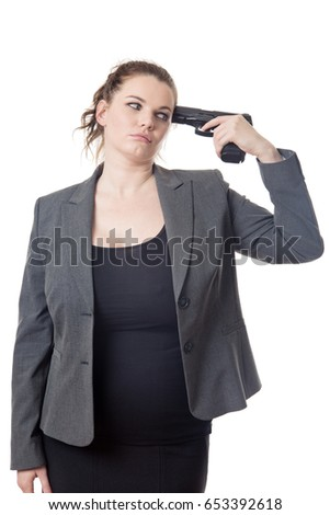 business woman holding a gun to her head