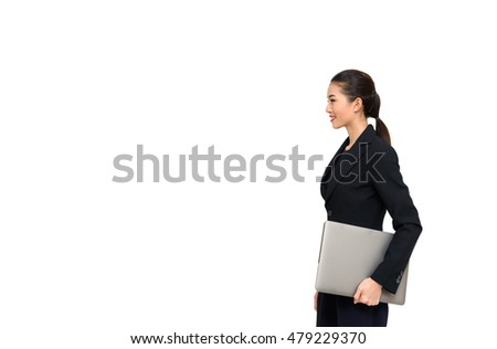 Business woman  holding a laptop  isolated on white
