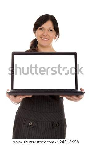 Business Woman holding a laptop / Marketing - stock photo