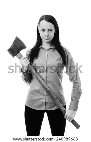 business woman holding a large axe - stock photo