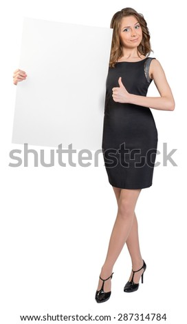 Business woman holding a large blank billboard and shows sign thumb-up. - stock photo