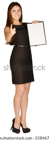 Business woman holding a paper holder. A second hand showing thumbs. - stock photo