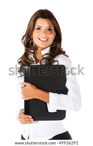 Business woman holding a portfolio isolated over a white background - stock photo