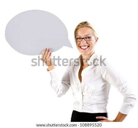 Business woman holding a speech bubble - stock photo