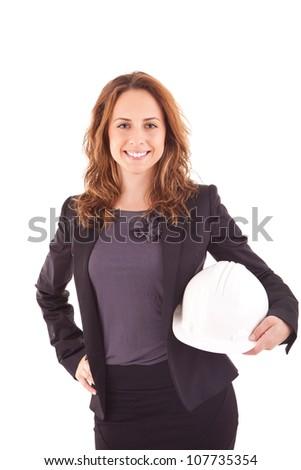 Business woman holding an helmet - stock photo