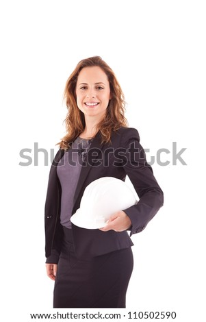 Business woman holding an white helmet - stock photo