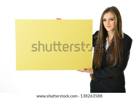 Business Woman Holding Big Blank Yellow Board (above shoulder) - stock photo