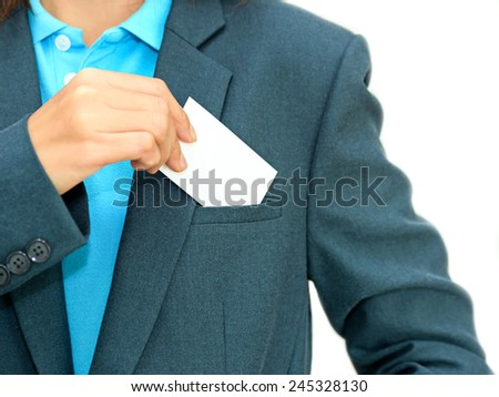 Business woman holding blank business name card - stock photo