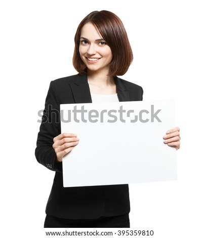 Business Woman Holding Blank Placard - stock photo