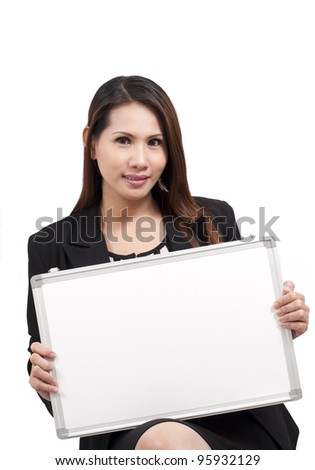 business woman holding blank white board sign