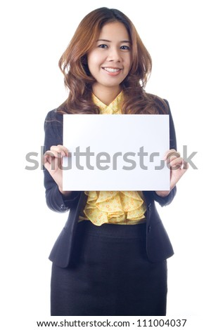 Business woman holding blank white paper sign Isolated on white background.