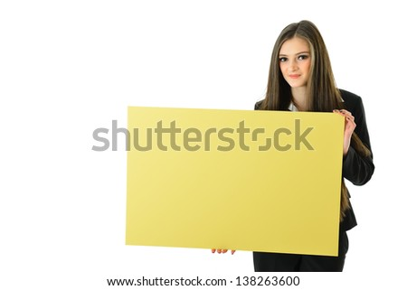 Business Woman Holding Blank Yellow Board (below shoulder) - stock photo