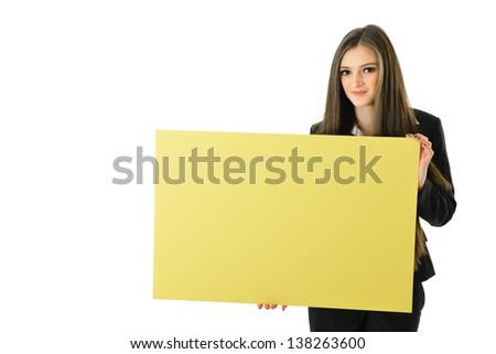 Business Woman Holding Blank Yellow Board (below shoulder) - stock photo