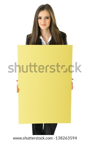 Business Woman Holding Blank Yellow Board (vertical) - stock photo