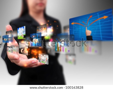 business woman holding business collection - stock photo