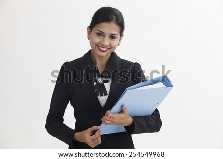 business woman holding business file - stock photo