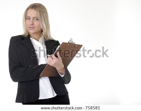 Business woman holding chart taking notes