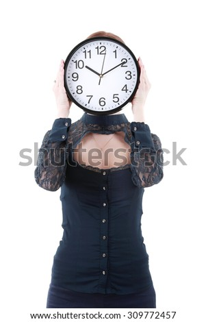 Business woman holding in hands clock, isolated on white background