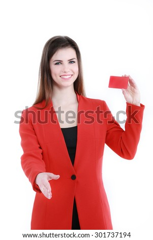 Business woman holding in one hand a blank red business card