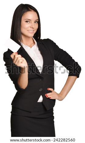 Business woman holding in one hand a blank white business card - stock photo
