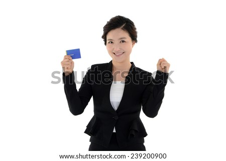 Business woman holding membership card isolated on white background  - stock photo