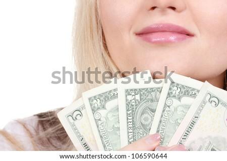 Business woman holding money closeup - stock photo