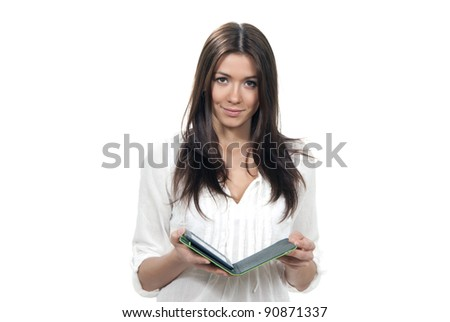 Business woman holding open book isolated on a white background - stock photo