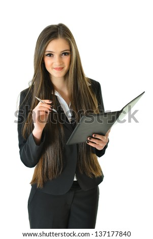 Business Woman Holding Pen - stock photo