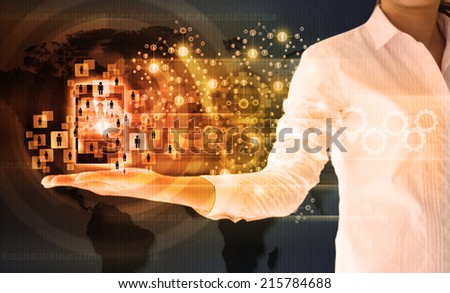 business woman holding social network - stock photo