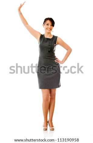 Business woman holding something up with her hand - isolated over white