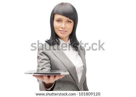 Business woman holding tablet computer isolated on white background. working on touching screen. - stock photo
