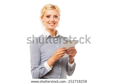Business woman holding tablet PC with touchpad. - stock photo