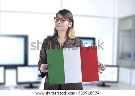 Business Woman Holding the Italian Flag