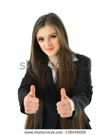 Business Woman Holding Two Thumbs Up for Success - stock photo