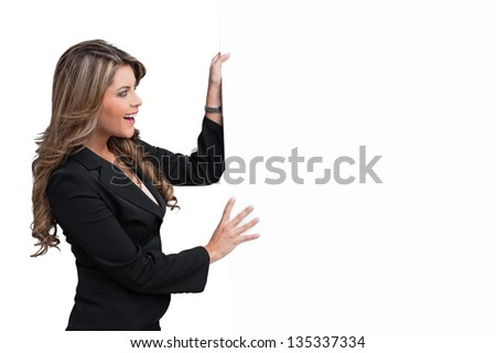 Business woman holding white paper - stock photo