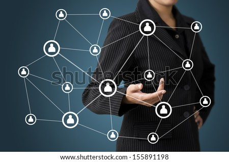 Business Woman Human Link Connection Concept - stock photo
