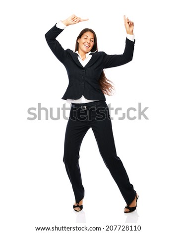 Business woman in a black suit dancing is happy cheerful.    Isolated on a white background. click for more - stock photo