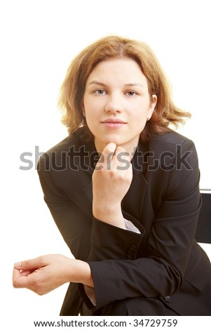 Business Woman Chair Leaning Forward Stock Photo 34729759