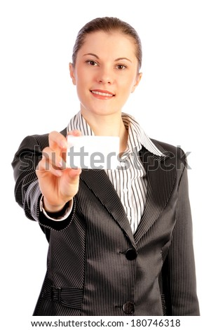 Business woman in a suit showing a card